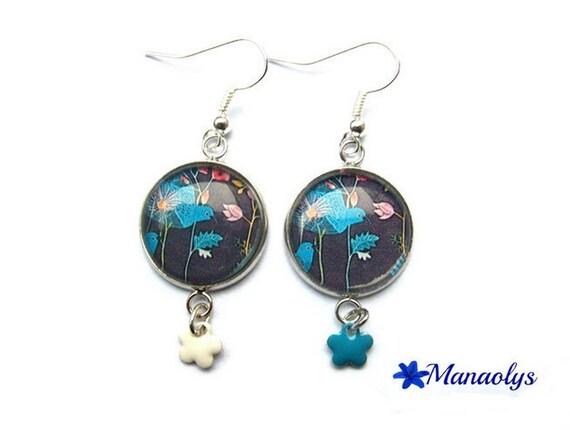 Silver earrings studs glass blue birds, enameled flowers