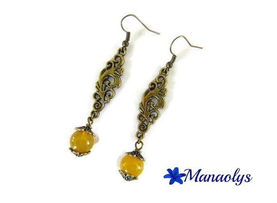 Earrings bronze color vintage arabesques and beads, yellow agate stone