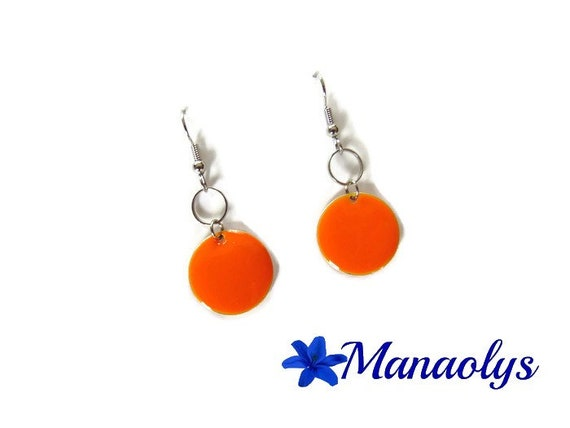 Enamel orange earrings, sequins round enamelled silver ring