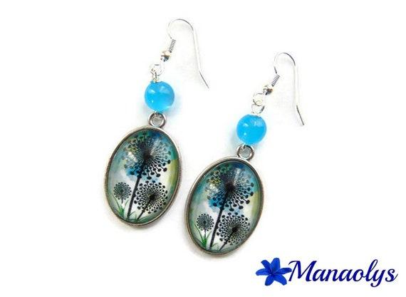 Oval earrings flowers, dandelion, resin beads, glass 3211 cabochons