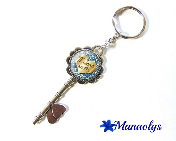Key ring or jewelry bag, silver key and glass, gold, blue flowers 124 MOM cabochons