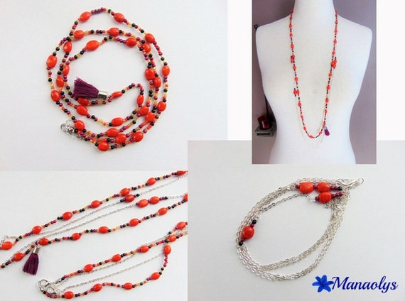 Necklace style orange and plum, Bohemian boho chic, beads and tassel necklace 2 rows