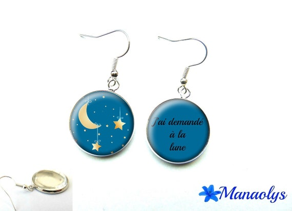 """Moon and stars earrings, """"I asked the Moon"""", 1518 glass cabochons"""