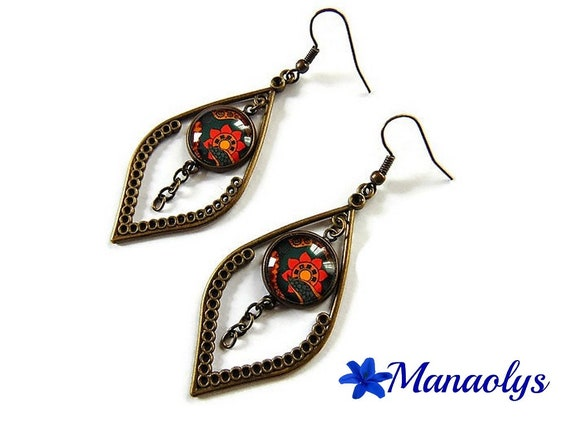Ethnic, tribal earrings, bronze earrings, cabochons glass, orange & yellow