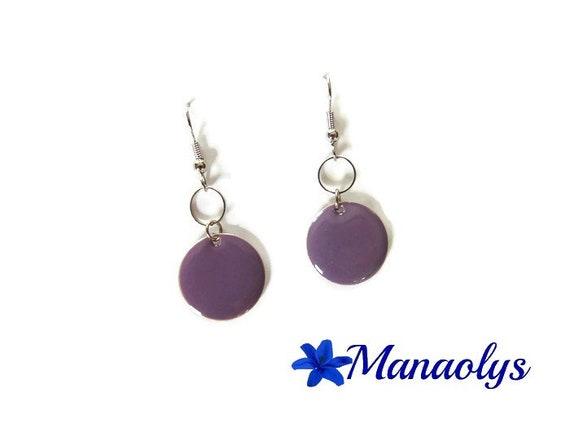 Mauve, purple enamel, enamelled round sequins, silver rings earrings