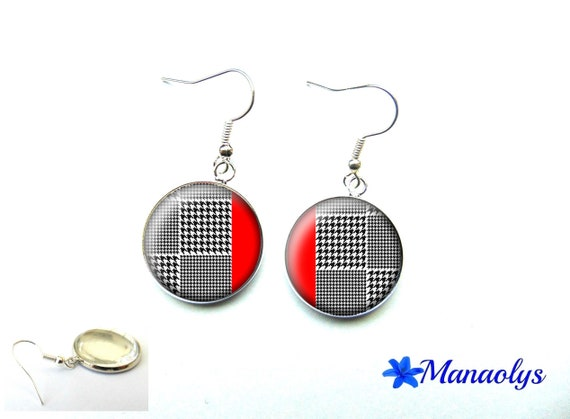 Foot of hen, black and white, red Plaid, tartan, earrings tiles, glass 3626 cabochons earrings