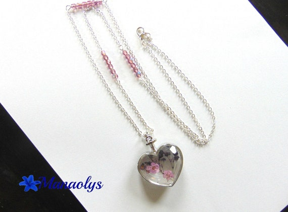 Glassy pink, heart glass necklace, glass beads