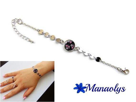 Bracelet fine cabochon glass pink flowers on black background, silver chains, gift idea, mothers day, birthday
