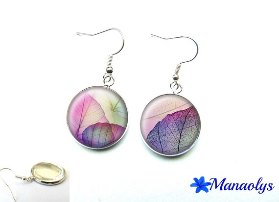 Leaves, purple and pink glass 1833 cabochons earrings
