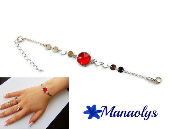 Bracelet fine cabochon red glass, silver chains, gift idea, birthday, mothers day