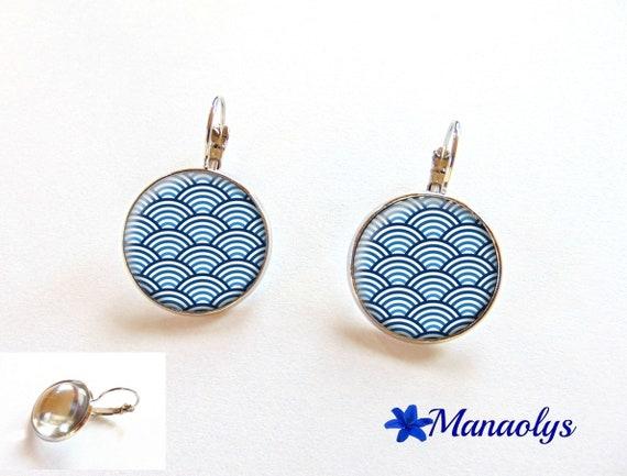 Earrings sleepers waves Japanese blue, 2355 glass cabochons