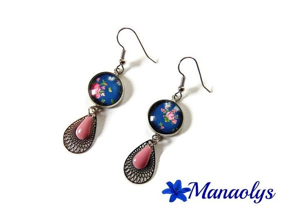 Bohemian earrings, pink flowers, glass cabochons, drop silver and drops enameled roses