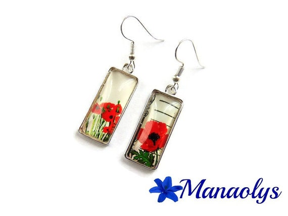 Rectangle earrings, earrings poppies, flowers, glass cabochons