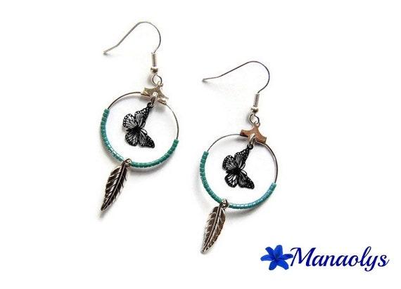 Hoop earrings, silver rings, black filigree butterflies and leaves silver 2900