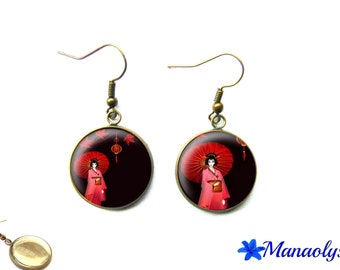Japanese woman, Geisha, kimono, 3227 glass cabochons earrings