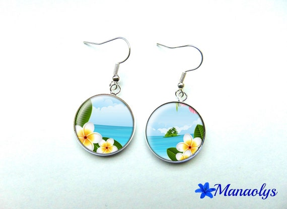 Earrings cabochon glass landscape and exotic flowers 907