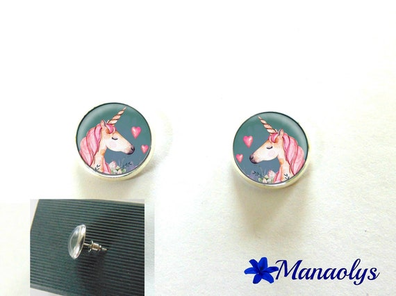 Round silver Stud Earrings, unicorns, 2994 glass cabochons