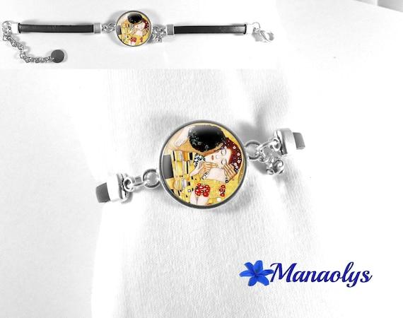Klimt Kiss bracelet, bracelet, bracelet cabochon art painter 511