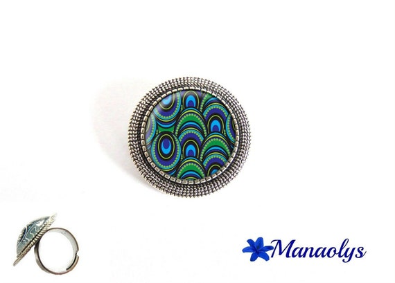 ring adjustable antique silver round, blue and green patterns, 189 glass cabochons