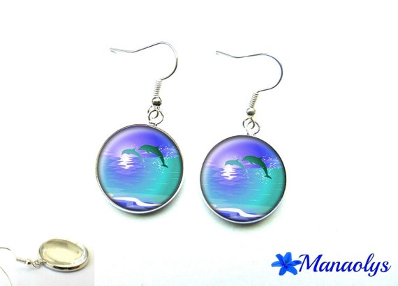 Dolphins 1452 glass cabochons earrings