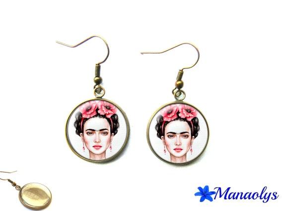 Frida kahlo glass 2974 cabochon vintage earrings