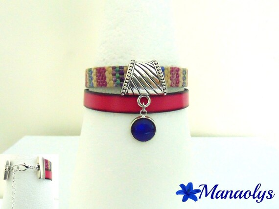 Multicolor genuine leather, blue cabochon Cuff Bracelet Navy 372