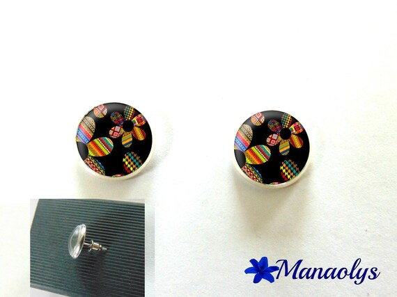 Round silver Stud Earrings, colorful flowers, 2990 glass cabochons