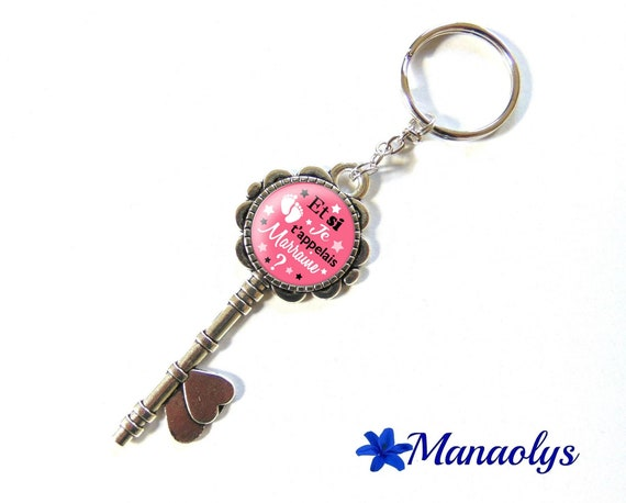 "Keyring or bag charm, ""and I call you godmother?"", birth, glass cabochons"