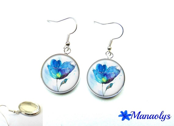 Earrings blue flowers on white background, 2550 glass cabochons
