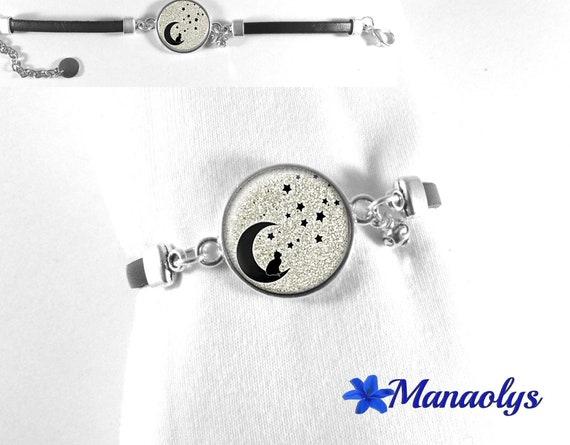Black leather bracelet, cabochon glass cat on Moon, stars 441