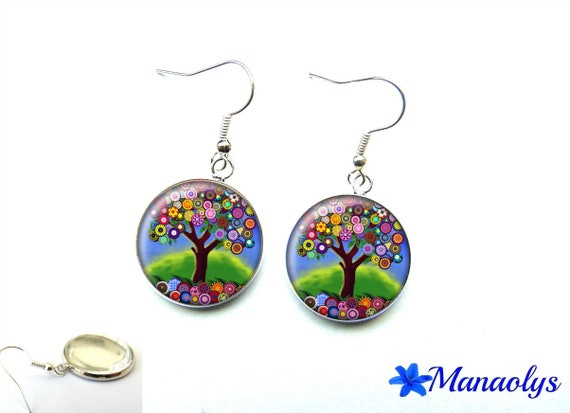 Colorful trees, 2006 glass cabochons earrings