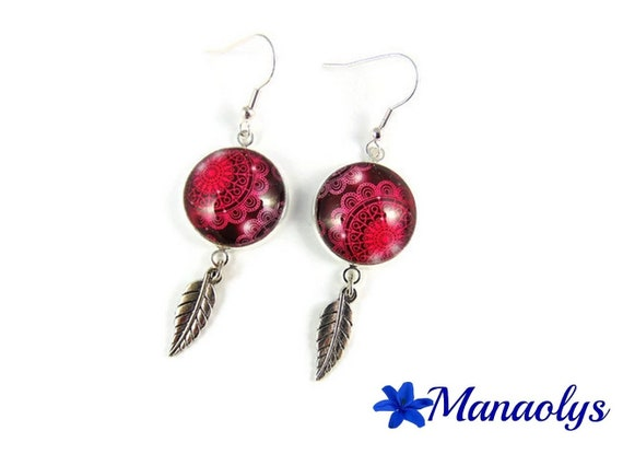 Silver earrings cabochon glass, silver feathers 3007