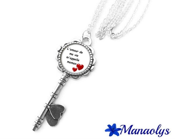 "Silver long key necklace, cabochon glass, message, phrase, humor ""the love of my life calls me MOM"""