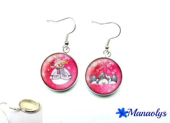 Christmas earrings, earrings, comedy, snowman, Christmas, gift Christmas 2925