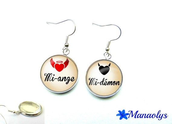 Mi-ange, half-demon, 1256 glass cabochons earrings
