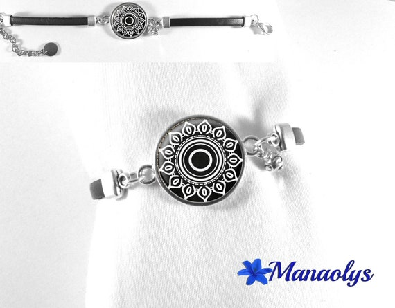 Bracelet genuine leather, black and white patterns, flower, geometric, 496 glass cabochon