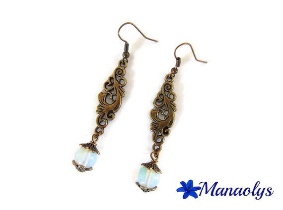 Earrings bronze color vintage arabesques and pearls, white agate stone