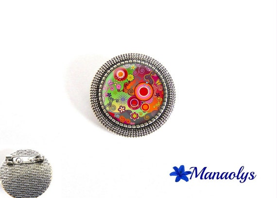 Brooch antique silver round, multicolored patterns, 22 glass cabochons
