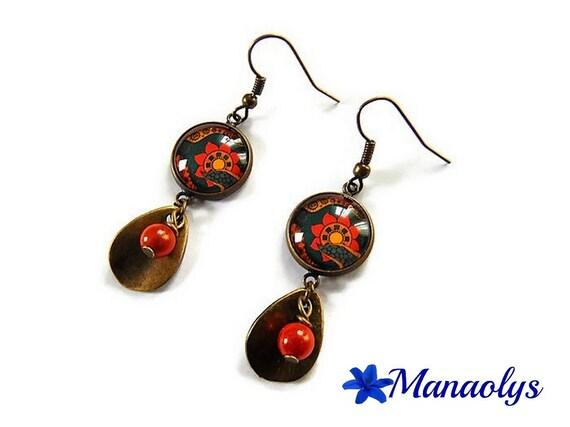 Ethnic, tribal, bronze earrings, glass, orange & yellow cabochons, drop earrings