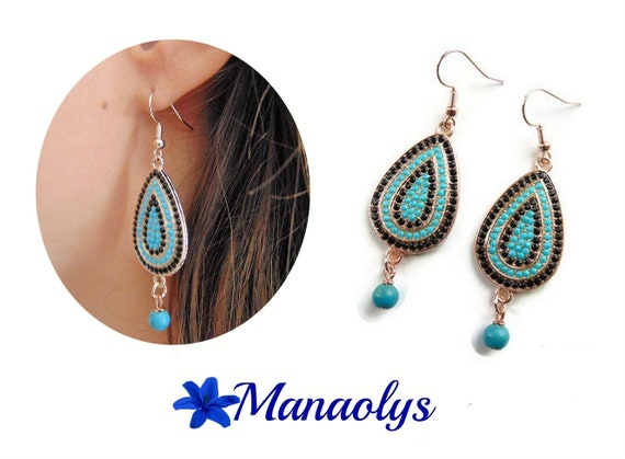 Earrings rose gold drops, Rhinestones, turquoise and black 3179