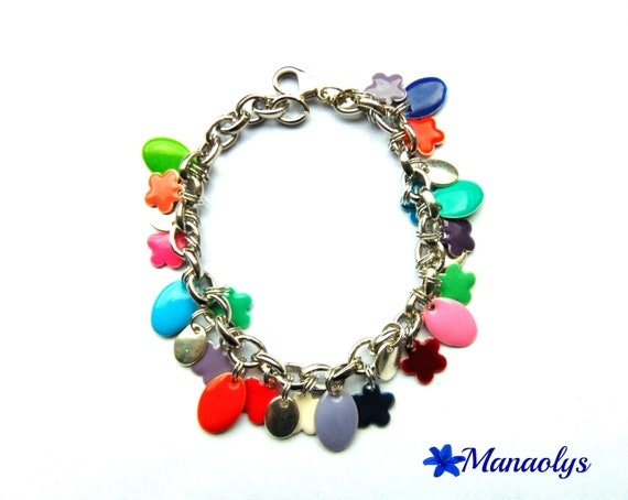 Multicolor bracelet oval enameled charms and flowers, Silver Oval charms 38