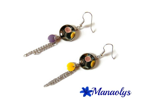Dangling earrings, round, yellow and purple sequins, silver chains 3262