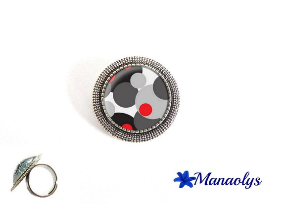 Ring adjustable antique silver round, red, grey and black round patterns, glass cabochons