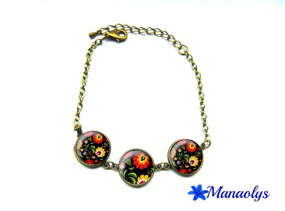 Bracelet embroidered Polish, Russian, Slavic folklore, 522 glass cabochons