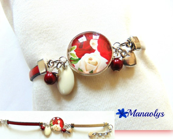 Iridescent red and ivory leather bracelet, romantic style, red and ivory roses, glass cabochon