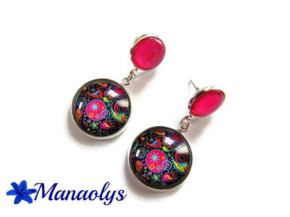 Colorful earrings, fuchsia pattern, chips, dangling, turquoise stone double cabochons 3516