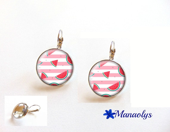 Earrings sleepers, exotic, pink and white, watermelon 3483 glass cabochons