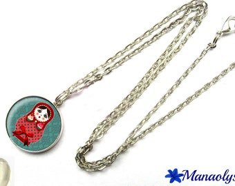 Red matryoshka necklace on blue 313 glass cabochon silver plated chain