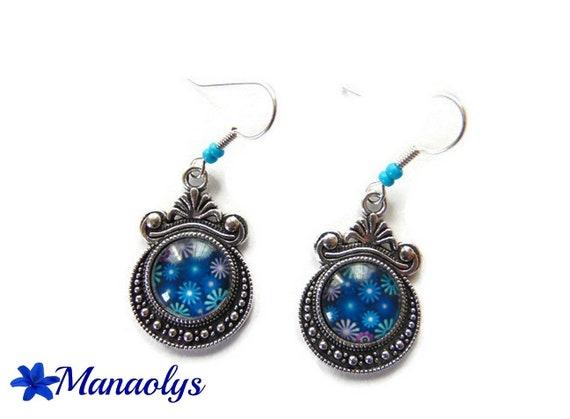 Vintage glass blue flowers 3060 cabochons earrings