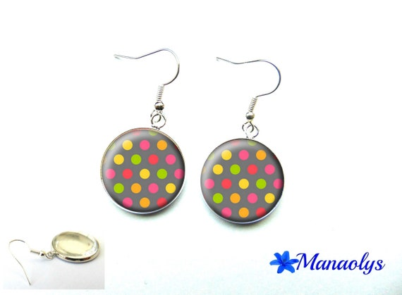 Multicolored dots earrings, colorful earrings, cabochons glass 3554